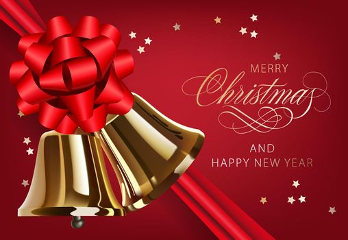 Merry Christmas with golden bells and ribbon postcard design