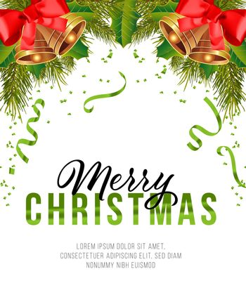 Merry Christmas poster design. Christmas bells with bows