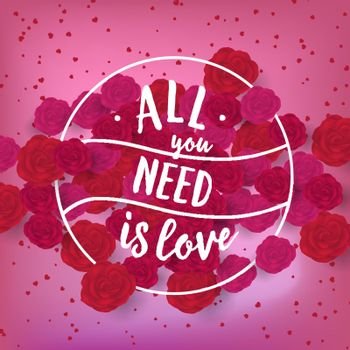 All you need is love lettering as creative holiday stamp
