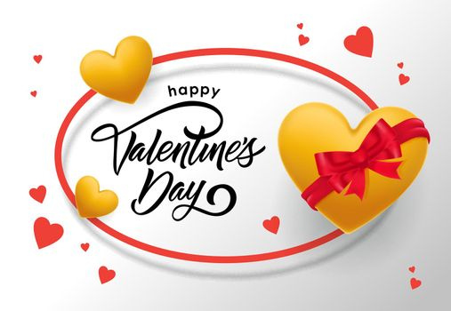 Happy Valentines Day lettering in oval frame with hearts