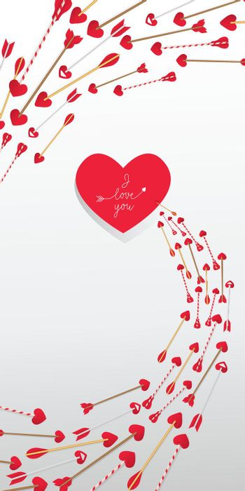 I Love You lettering in red heart and arrows in swirl