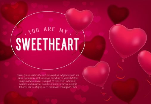 You are my sweetheart lettering with heart shaped balloons