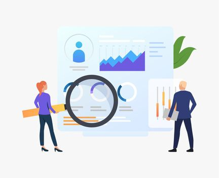 Businesspeople with magnifying glass at charts vector