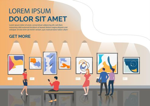 Slide page with tourists looking at artworks vector illustration