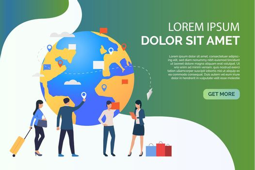 Slide people with globe and travelling business people vector