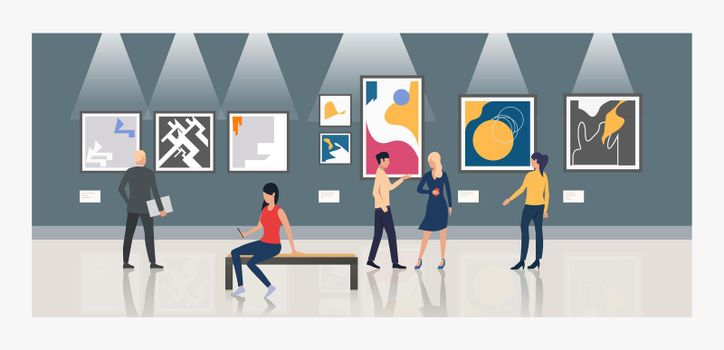 Tourists looking at paintings in art gallery vector illustration