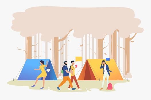 Young people at campsite in wood vector illustration