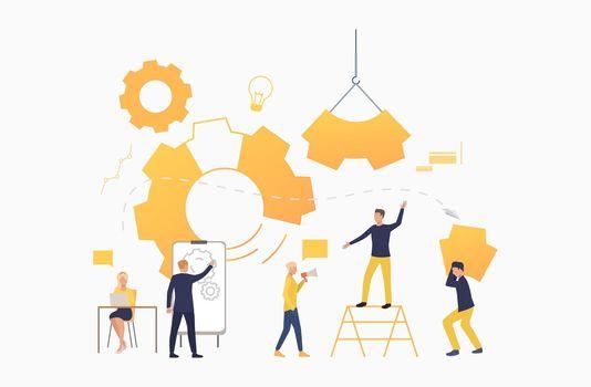 Business team working as mechanism