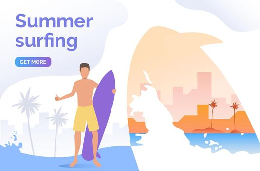 Guy in shorts holding surfboard