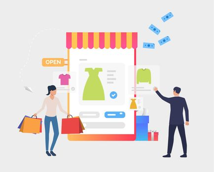 Man and woman buying clothes online