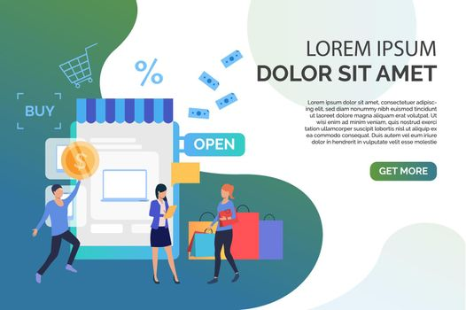 People buying goods in online shop with sample text