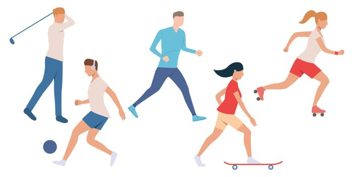 Set of active people doing sport
