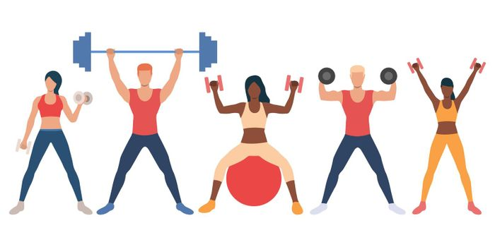 Set of multiethnic people with weights