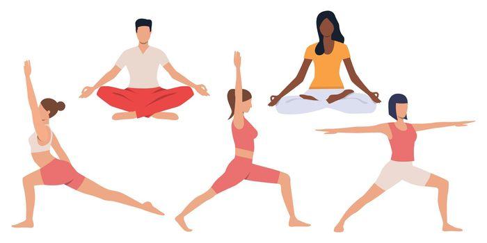 Set of people practicing yoga