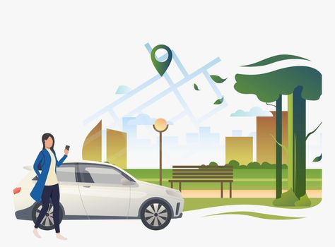 Woman standing by car with city park and pointer on map