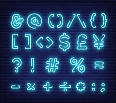 Blue text symbols neon sign