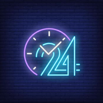 Clock and twenty four hours neon sign