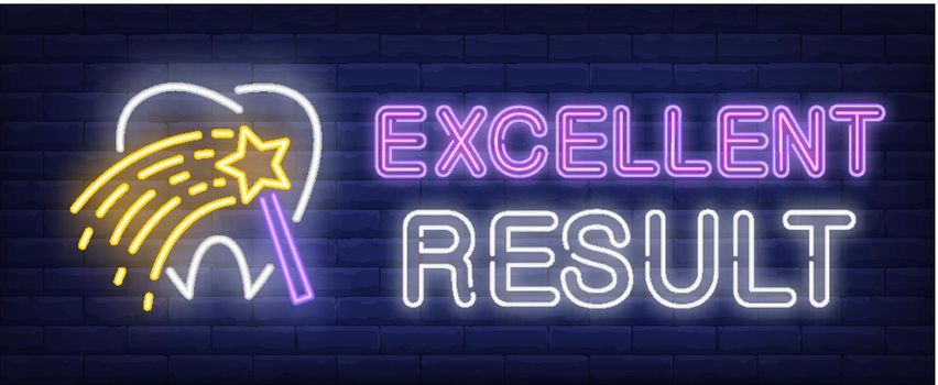 Excellent result neon text with tooth and magic wand