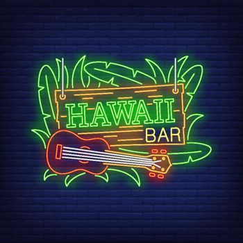 Hawaii bar neon text with ukulele and leaves