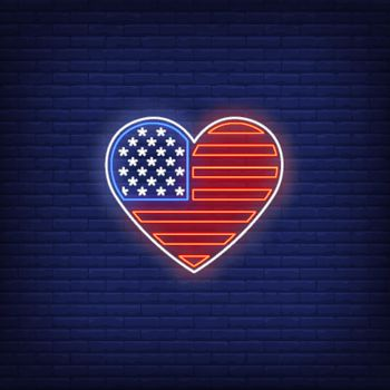 Heart shaped American flag neon sign