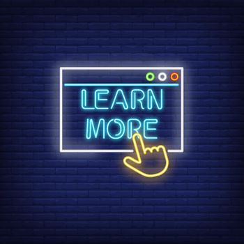 Learn more neon sign