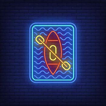 Kayaking neon sign