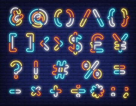 Multicolored text symbols neon sign