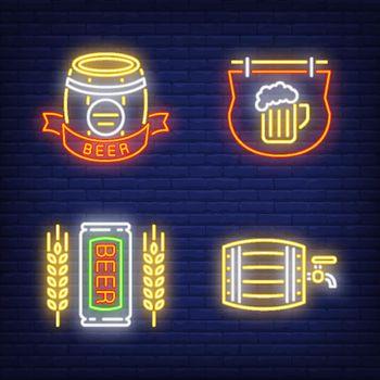 Beer pub neon sign set. Barrel, signboard