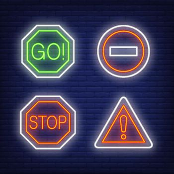 Exclamation mark, go and stop traffic neon signs set