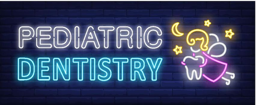 Pediatric dentistry neon text, fairy flying and carrying tooth
