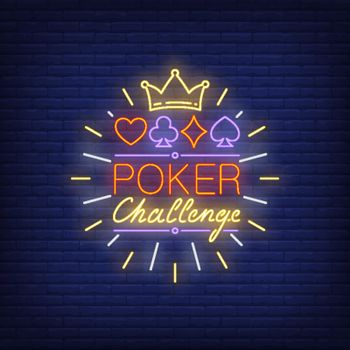 Poker challenge neon text with crown and suits symbols