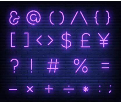 Purple text symbols neon sign