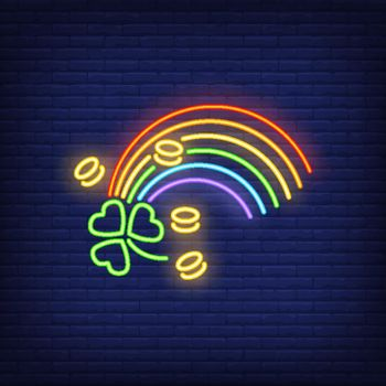 Rainbow, coins and clover neon sign