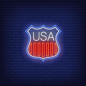 Shield with USA flag stripes neon sign