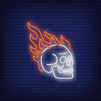 Skull on fire neon sign