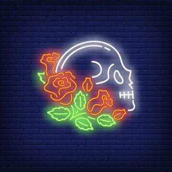 Skull profile in roses neon sign
