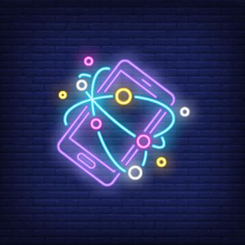 Smartphone and Internet neon sign