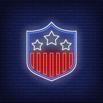 Stars and stripes on shield neon sign