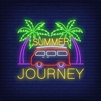 Summer Journey neon lettering, minivan and palm trees