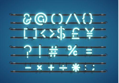 Text symbols neon sign