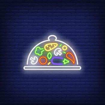 Vegetables on tray under lid neon sign