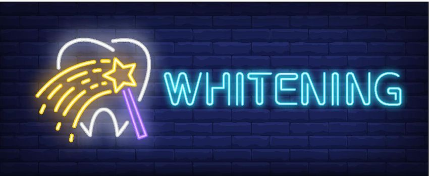 Whitening neon text with tooth and magic wand