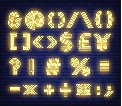 Yellow text symbols neon sign
