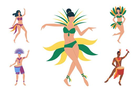 Collection of Brazilian dancers in costumes