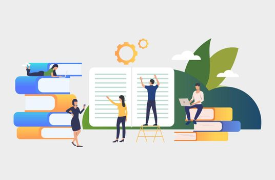 Group of people working on books