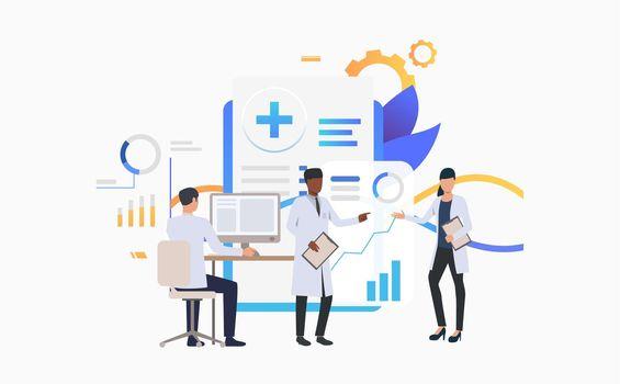 Medics working over charts vector illustration
