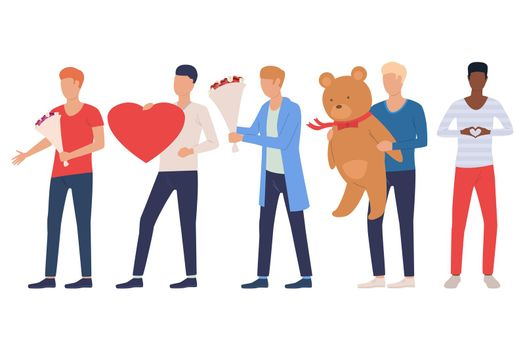 Set of men going to date. Guys holding heart