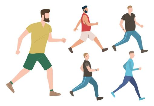 Set of male keeping active lifestyle