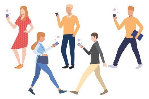 Set of people using smartphones