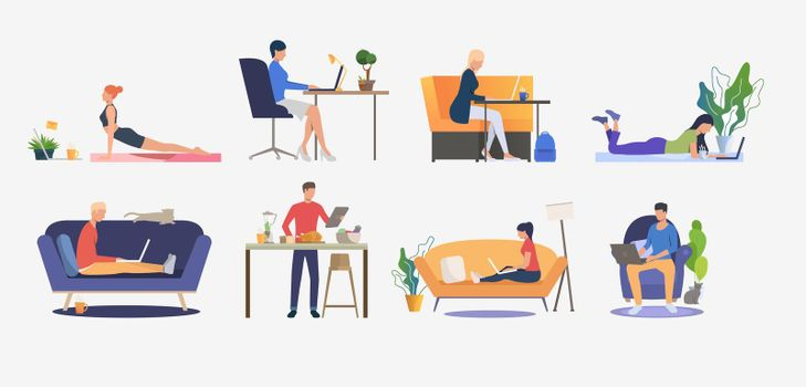 Set of people using computers and having rest